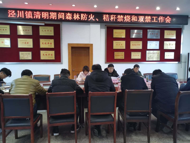 4月2日,泾川镇召开清明期间森林防火、秸秆禁烧和双禁工作会